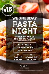 Pasta Night Wednesdays